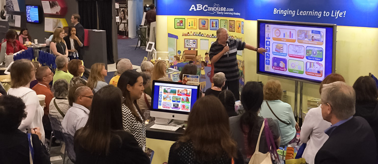 Steve Tomecek, Age of Learning Science Advisor, demonstrates ABCmouse for Libraries activities to a large and enthusiastic audience of librarians.